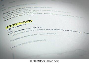 szótár, meghatározás, közül, a, szó, csapatmunka