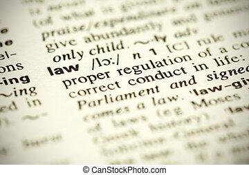 """szótár, meghatározás, közül, a, szó, """"law"""""""