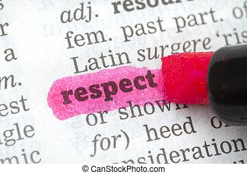szótár, meghatározás, respektál