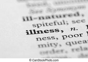 szótár, sorozat, -, betegség