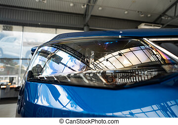 szög, autó, modern, headlamp, prestigious, becsuk
