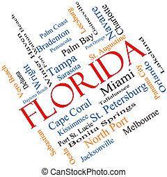 szögletes, fogalom, szó, florida helyzet, felhő