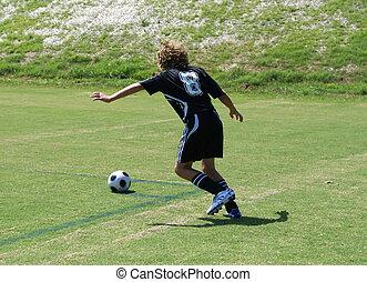 szögletrúgás, alatt, egy, futball, game.