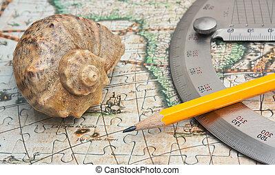 szögmérő, és, kagyló, képben látható, a, térkép