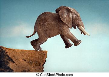 szökell of ígéret, fogalom, elefánt, ugrás, bele, egy, üres