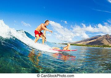 szörfözás, atya, együtt, fiú, lovaglás, lenget