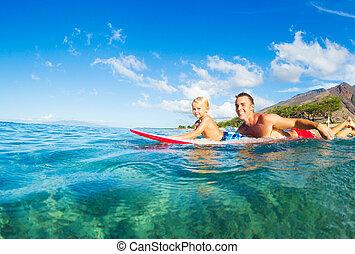 szörfözás, atya, fiú
