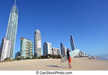 szörfözás, paradicsom, queensland, surfers, ausztrália