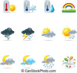 szövedék icons, -, több, időjárás