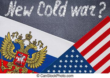 szöveg, írott, chalkboard, új, hidegháború