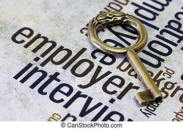 Szöveg, öreg, kulcs, munkáltató
