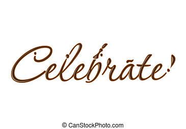 szöveg, ünnepel, csokoládé