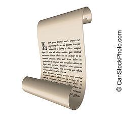 szöveg, ősi, felcsavar, ábra