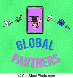 szöveg, aláír, kiállítás, globális, partners., fogalmi, fénykép, két, vagy, több, cégjegyez, alapján, különböző, országok, munka, mint, egy, befog