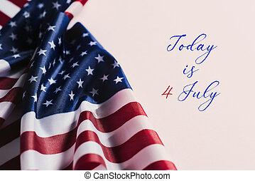 szöveg, american lobogó, 4, július, ma