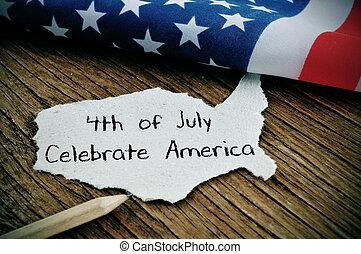 szöveg, american lobogó, 4 july, amerika, ünnepel