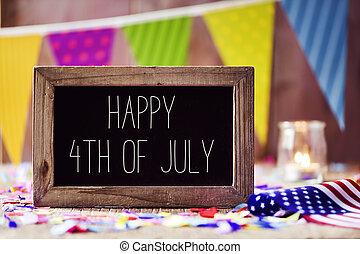 szöveg, american lobogó, 4 july, boldog
