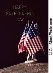 szöveg, american lobogó, nap, szabadság, boldog