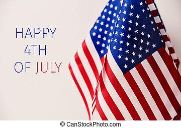 szöveg, amerikai, 4, zászlók, július, boldog