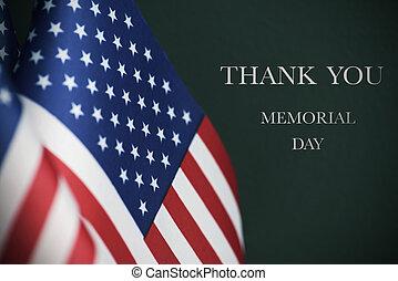 szöveg, emlékmű, zászlók, amerikai, nap