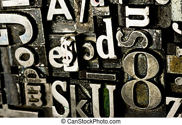 szöveg, fém, nyomdászat, szed, idejétmúlt, printing sajtó,...