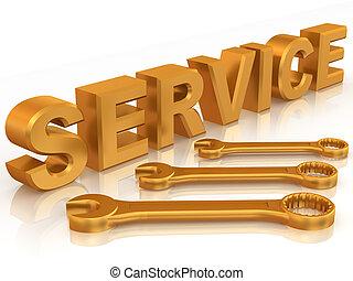 szöveg, három, szolgáltatás, csavarkulcs