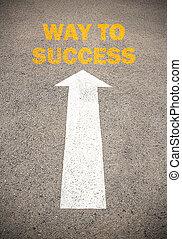 szöveg, helyett, irány, fordíts, success., fogalom, az úton