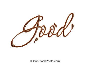 szöveg, jó, csokoládé