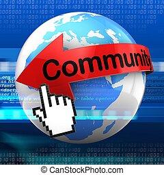 szöveg, közösség, háttér, digitális, földdel feltölt, 3