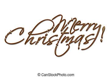 szöveg, karácsony, csokoládé