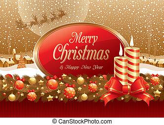 &, szöveg, keret, ábra, íj, vektor, gyertya, karácsony