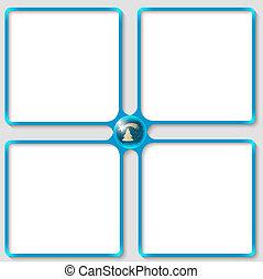 szöveg, keret, négy, téma, vektor, karácsony