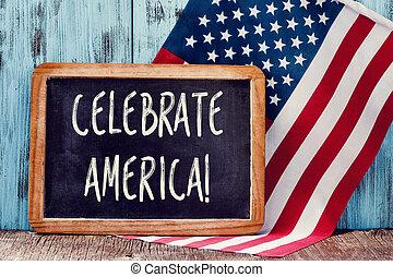 szöveg, lobogó, amerika, amerikai, ünnepel