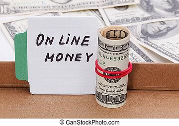 szöveg, –, online, pénz., ügy, concept.