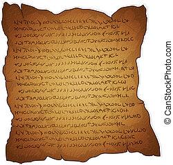 szöveg, pergament