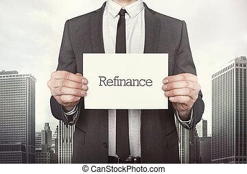 szöveg, refinance, dolgozat, üzletember