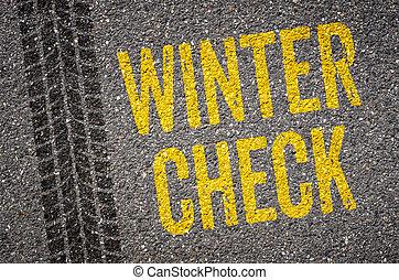 szöveg, sáv, tél, ellenőriz