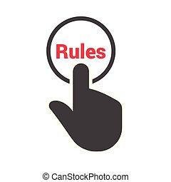"""szöveg, sajtó, """"rules"""", gombol, kéz"""