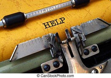 szöveg, segítség, írógép