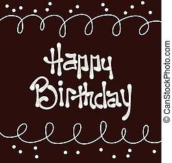 szöveg, születésnap, csokoládé, vektor, háttér, boldog, krém