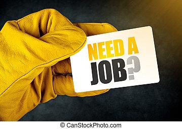 szükség, munka, kérdez, kártya, ügy