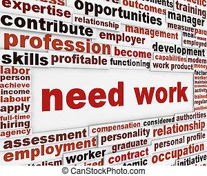szükség, munka, poszter, tervezés