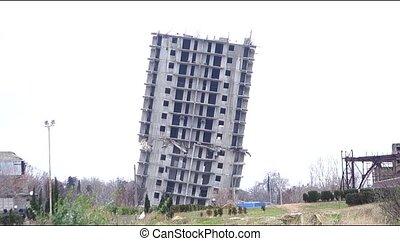 szükséghelyzet, épület, helyett, pusztítás