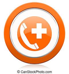 szükséghelyzet, hívás, narancs, ikon