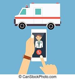 szükséghelyzet, orvos, mozgatható, autó telefon, hívás,...