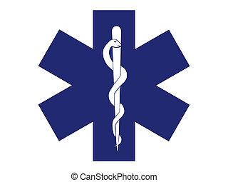 szükséghelyzet, orvosi jelkép, blue áthalad, -, ábra