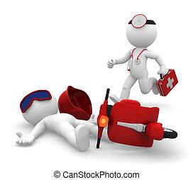 szükséghelyzet, orvosi, services., izolál