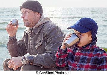 szülő, kölyök, együtt, ital, tea, coffe