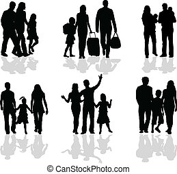 szülők, árnykép, gyerekek