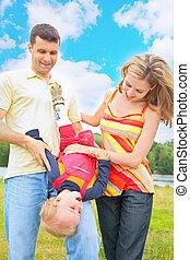 szülők, befolyás, gyermek, alatt, által, fej